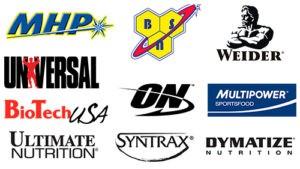 Логотипы популярных брендов спортивного питания