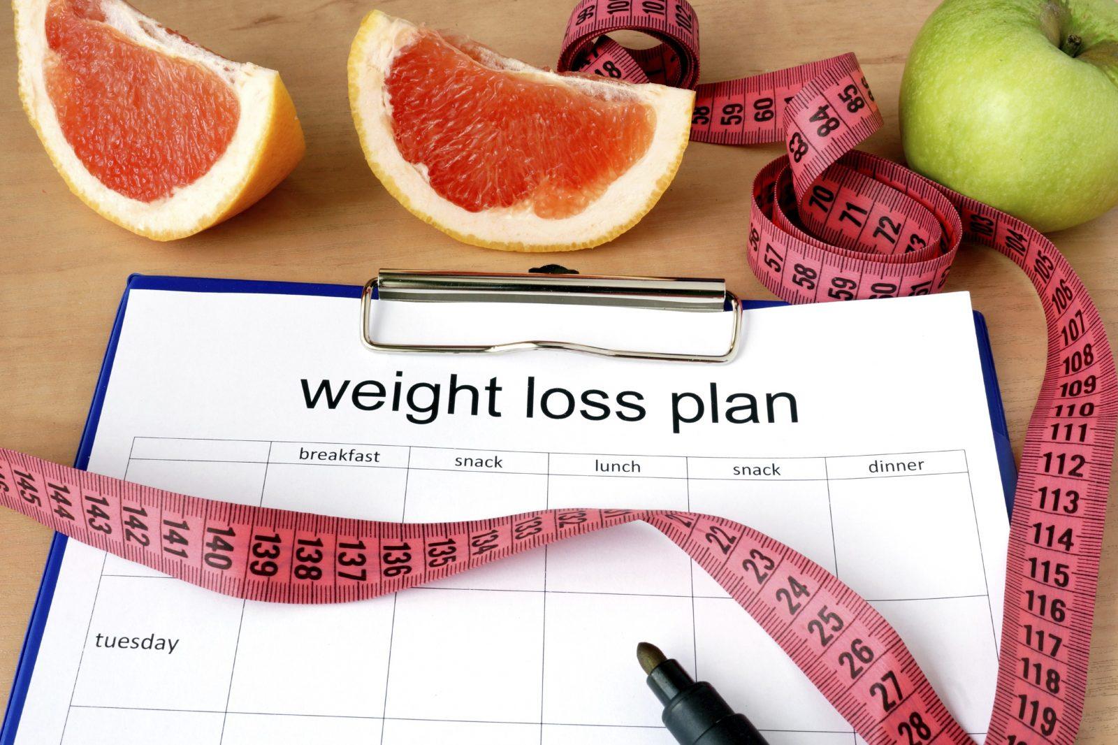 Сантиметровая лента, грейпфрут и план для похудения