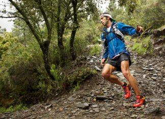 Мужчина в синей олимпийке и красных кедах бежит по пересеченной местности