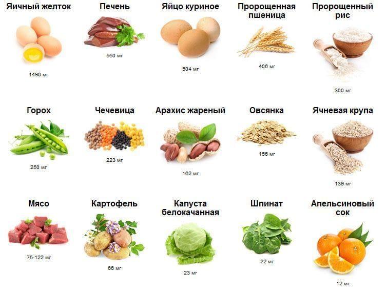 Количественное содержание холина в продуктах питания