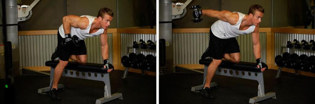 Упражнение на трицепс - Разгибания руки с гантелью в наклоне