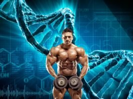 Бодибилдер на фоне днк генетики