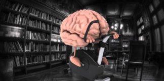 Человеческий мозг на велотренажере в библиотеке