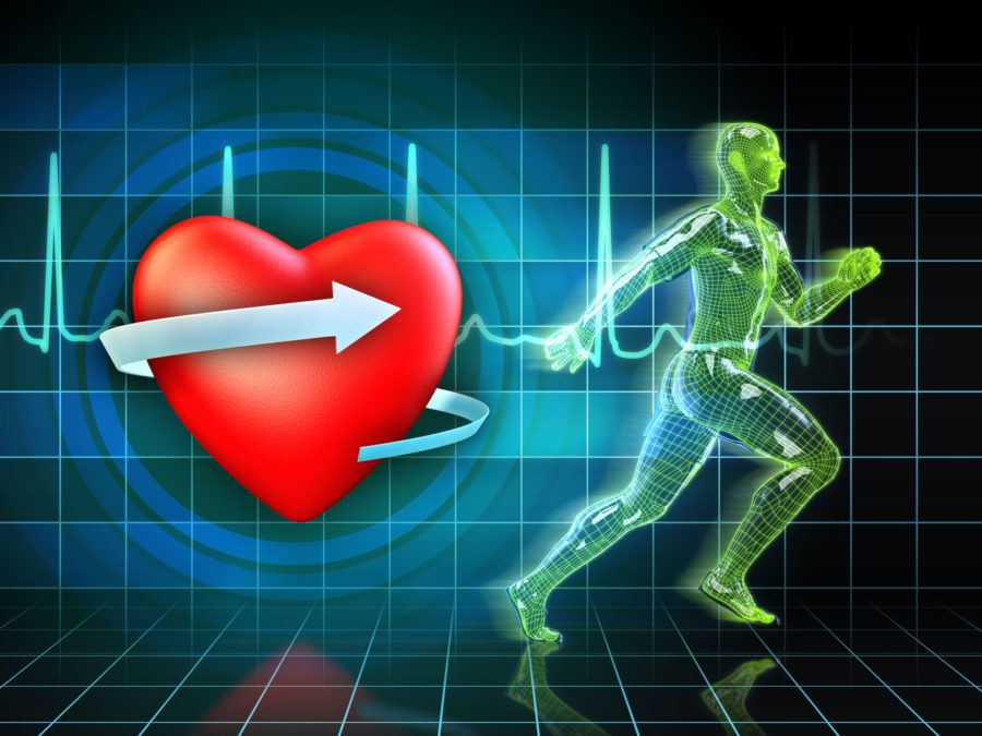 Рисованное сердце и бегущий компьютерный человек