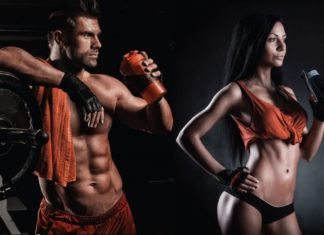 Спортивная девушка и парень на черном фоне