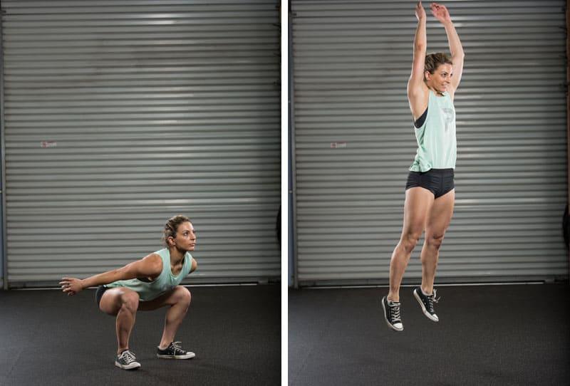 Девушка выполняет упражнение - выпрыгивания вверх из низкого приседа
