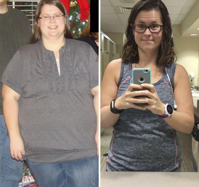 До - очень толстая девушка, после похудения - стройная девушка в очках
