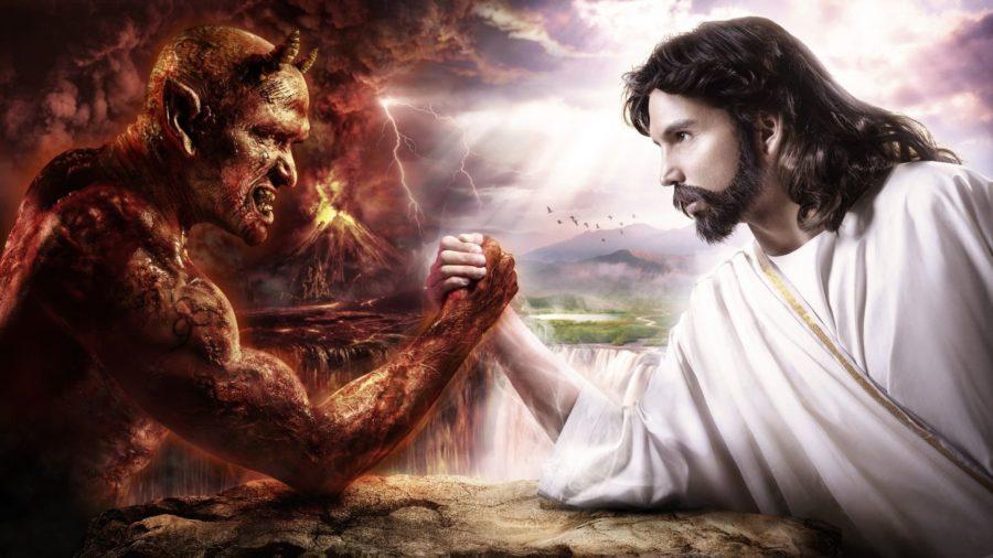дьявол и Иисус Христос борются на руках