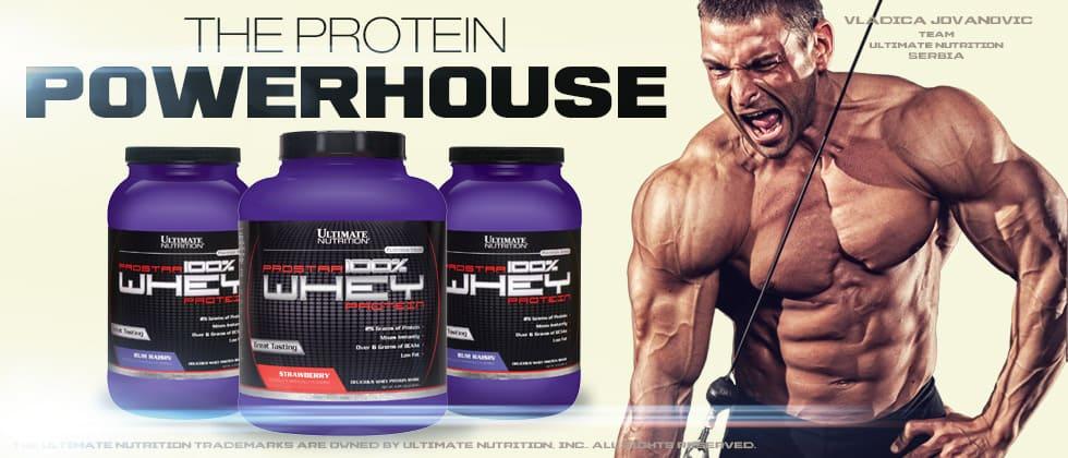 Постер: банки протеина ProStar Whey Protein и культурист на светлом фоне