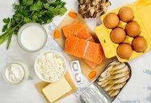 Молоко, яйца, рыба, творог, сметана, грибы и зелень