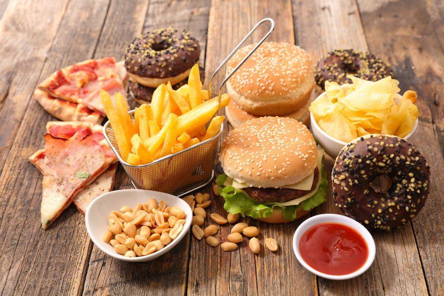 Вредная еда (фастфуд, жаренные орехи, кетчуп, сухарики, пончики, пицца, чипсы)