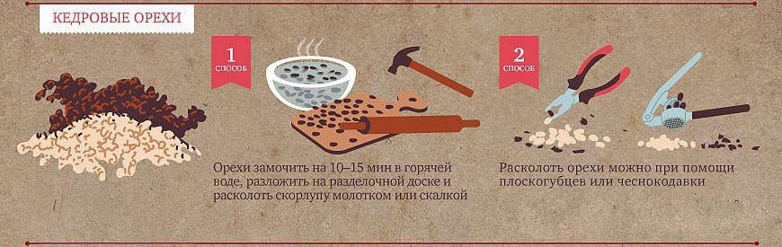 Способы очищения кедрового ореха от скорлупы