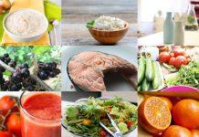 Раздельное питание: рыбы, апельсины, томатный сок, огурцы, помидоры