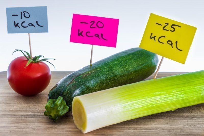 Калорийность помидор, кабачка и лика на порцию продукта