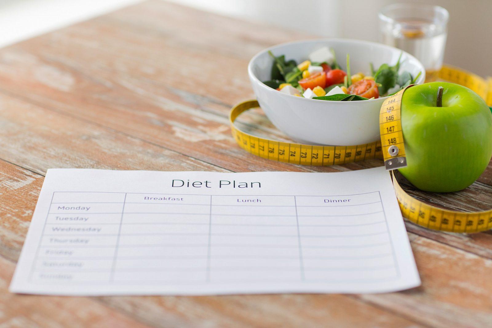 Дневник питания, сантиметровая лента, карандаш, овощной салат