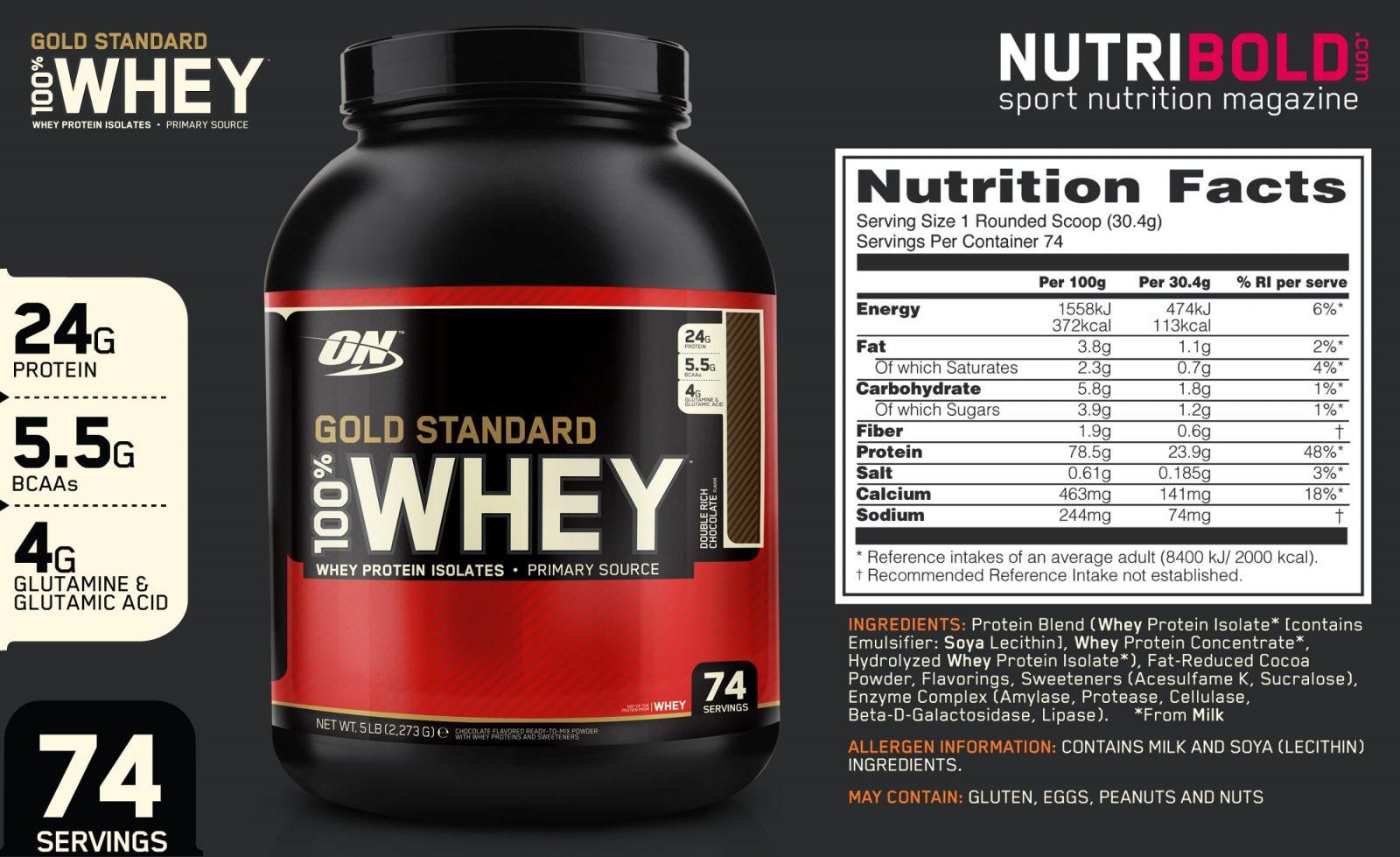 Состав сывороточного протеина 100% Whey Gold Standard (Optimum Nutrition)