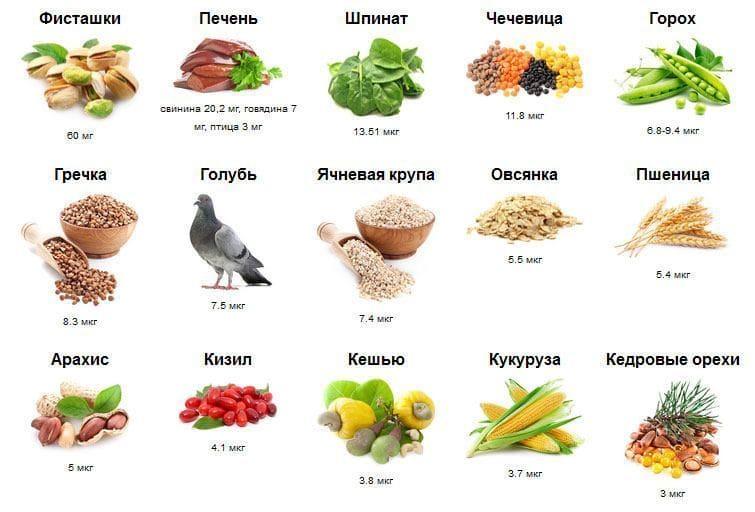Количество железо в 100 грамм различных пищевых продуктов питания