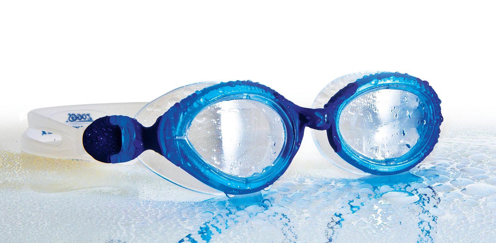 Плавательные сине-белые очки