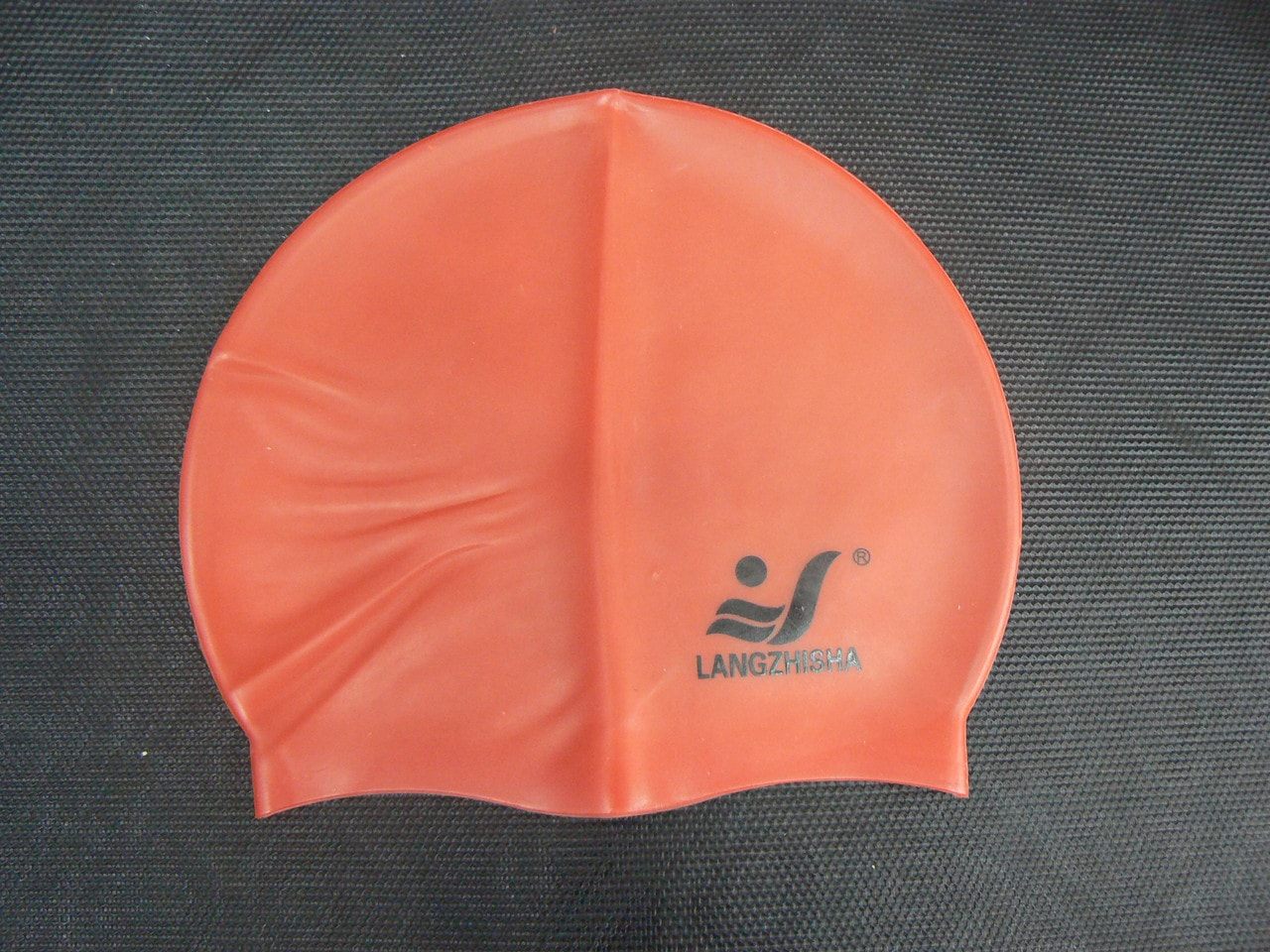 Силиконовая плавательная оранжевая шапочка